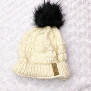 Furtalk Ivory Knit Beanie with Detachable Pom